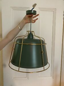 Heals Green And Gold Cage Pendant Light