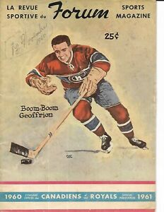 1960-61 Montreal Canadiens-Red Wings Program Boom Boom Cover Habs Win!!