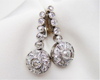 Antique Vintage Art Deco 3.60Ctw Round Diamond Halo 14K Gold Over Earrings