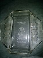 Vintage Glass Travel Lodge Hotel Sleepy Bear Ashtray Collectable Advertising