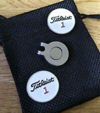 Two White 1 inch Golf ball Markers - Free pouch and magnetic clip