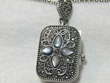 """Colleen Lopez """"Top Star"""" MOP and Marcasite Pendant Watch with 36"""" Chain Black"""