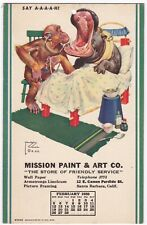 Postcard Advertising Mission Paint & Art Hippo & Chimp Santa Barbara CA 1939 A7