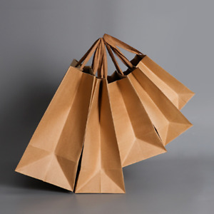 Pack 100 Shopping Gift Paper Bag Tote Brown Handle Natural Recycled Garment Bags