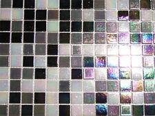 Glasmosaik Fliesen Mosaik PERLMUTTEFFEKT schwarz weiss grau Perlmutt Bad 1 qm