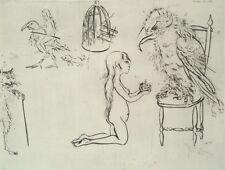 MOREH MORDECAI, Victory, Original S&N Etching NUDE WOMAN Surrealism ISRAELI ART