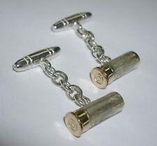 Hallmarked Sterling Silver Bullet Cartridge Shooting T Bar Cufflinks UK Seller