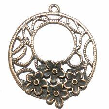 MX367p Antiqued Copper 35mm Open Round w Flowers Metal Alloy Drop Pendant 24/pkg