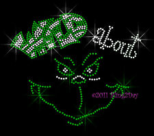 Wild about Grinch - GREEN Rhinestone Iron on Transfer Hot Fix Bling Christmas