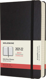 Moleskine 18 Month Academic Diary 2021/22 Large Daily Notebook Hard Cover Black