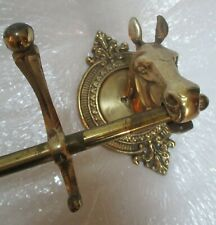 vintage BRASS HORSE HEAD CLOTHES COAT RACK w/ WALL MOUNT-5 HOOKS ~ affordable!