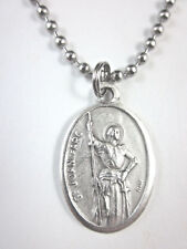 """St Joan of Arc Medal Italy Pendant Necklace 24"""" Ball Chain Gift Box Prayer Card"""