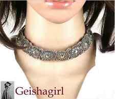 Retro Bohemian Tibetan Silver Tribal Pendant Choker Collar NecklaceUK Seller