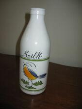 "Vintage Egizia Italy Milk Glass Bird Motif 1Qt Milk Bottle Sphinx Logo 10"" Tall"