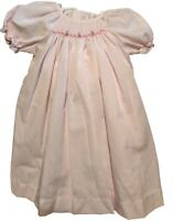 Baby Girls Smocked Dress &  Bonnet Lt Pink w/Roses MOM & ME Outfits Sz 3mo & 6Mo