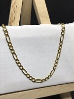 9ct 375 Yellow GOLD 3MM CURB FIGARO CHAIN ALL SIZE GIFT BRAND NEW