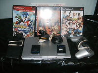 Playstation 2 Console PS2 Slim With 1 Controller Cords Sims Urbz Game 2 Memory