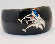"Dolphin Cuff Bracelet Silver Black Nautical Ocean ""Save The Gulf"""