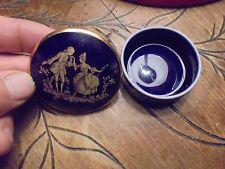 Ancienne Boite à Bijoux en Porcelaine de Limoges Bleu Cobalt Scène Renaissance
