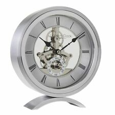 London Clock co 16 CM ARGENTO TONDI scheletro MANTEL CLOCK