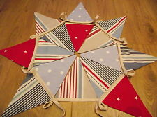 BOYS BUNTING handmade with Nautical Seaside Clarke & Clarke Stripe, Star & Spot