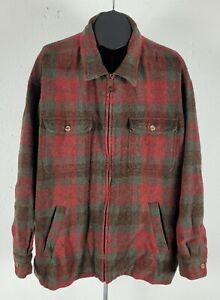 2XL Orvis Wool Blend Plaid Full Zip Mens Jacket