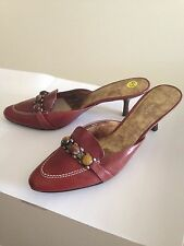 Nine West Brown Leather Mule  w/ Decorative Cabochons on Brass Strip Size 9 1/2