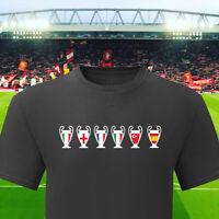 Liverpool T Shirt Top 6 Times T-shirt LFC Football European Champions