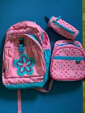 Hanna Andersson Girls Pink Polka Dot Backpack, Lunch Box, & Pencil Set