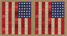 Sew American~MODA patriotic PANEL~DEB STRAIN~USA Flag~Old Glory on tan~19780-12