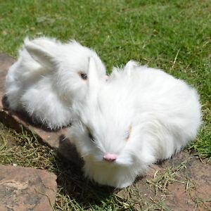 2 x Mini Realistic White Plush Rabbits Fur Lifelike Animal Furry Easter Bunnies