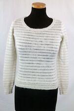 Espirit Womens Knitted Striped White Jumper Size M
