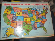 Sealed Original 1960's Map Of USA Puzzle Russ Dawson Ford Promo DETROIT Michigan