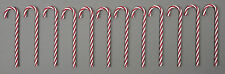 *12 X 18CM PLASTIC TWISTED RED AND WHITE CANDY CANES CHRISTMAS TREE DECORATIONS*