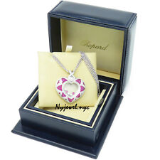 NYJEWEL Chopard 18K White Gold Large Ruby Floating Happy Diamond Heart Necklace