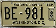GENUINE 1969 Washington DC USA Bus License Licence Number Plate BE-981