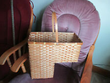"Large Woven Wicker Stair Step Basket Handle Decorative 21"" tall x15 1/2"" w x 8"""