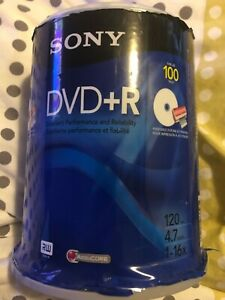 Sony DVD+R 4.7 GB Recordable DVDs 100 Disc Pack Factory Sealed NEW UNOPENED