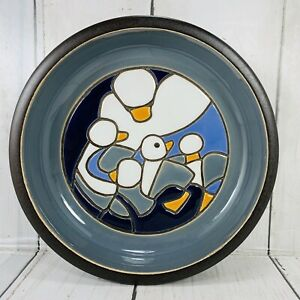 Geese Goslings Pottery Bowl Plate Terra Cotta Glazed Handmade Portugal Signed