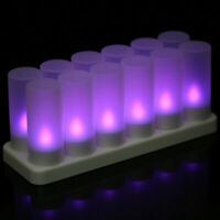 Set of 12 Rechargeable LED Color Changing Flickering Flameless Tealight B2F4
