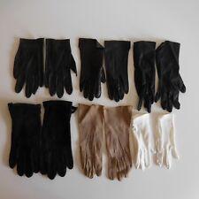 6 paires de gants femme T1 cuir tissu fait main textile ancien France N3336
