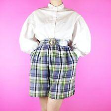VINTAGE Purple Green White 90s Tartan Check Grunge High Waist Shorts L 16 18