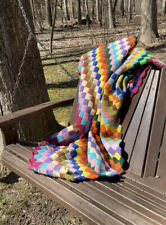 🌈Vintage Afghan Lap Blanket - Colorful,Handmade, Retro Design 51�X 59�
