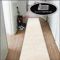 Moderne Läufer creme Teppich Korridor Flur Diele Breite 50, 60, 70, 80 90 100 cm
