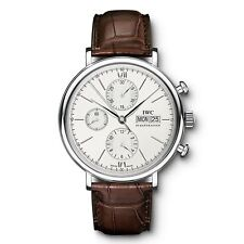 NEW IWC Portofino Chronograph Silver Dial Steel Leather Watch 42mm Mens IW391007