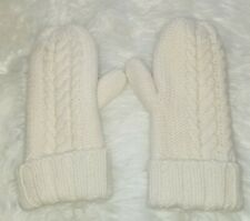 LL Bean Lambswool Mittens Lined One Size Ivory Cream Cable Sweater 285591