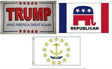 3x5 Trump White #2 & Republican & State of Rhode Island Wholesale Set Flag 3'x5'
