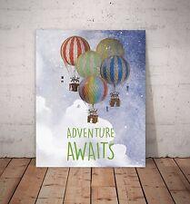 Adventure Awaits,Hot air balloon Wall Art Canvas, Baby Nursery Decor, Playroom