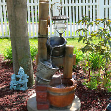 """New ListingSunnydaze Rustic Buckets Outdoor Water Fountain 34"""" Feature with Solar Lantern"""