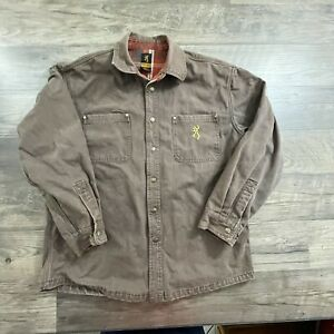 Men's Browning Flannel Lined Canvas Snap Front Shirt Jacket Sz.Lg